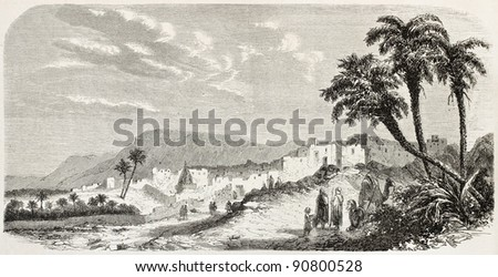 Bou saada old view, Algeria. Created by De bar after Houet, published on L'Illustration, Journal Universel, Paris, 1858 - stock photo