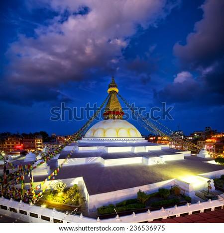Boudhanath Stupa at dusk, Kathmandu, Nepal - stock photo