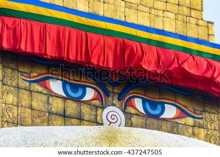 Boudhanath stupa in Kathmandu, Nepal - stock photo