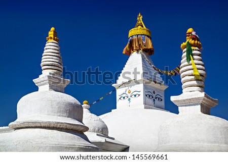 Boudhanath stupa is one of the holiest Buddhist sites in Kathmandu, Nepal. - stock photo