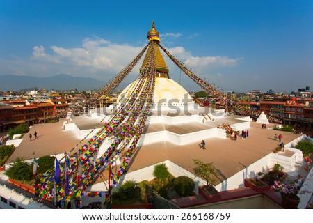 Boudhanath stupa kathmandu nepal - stock photo