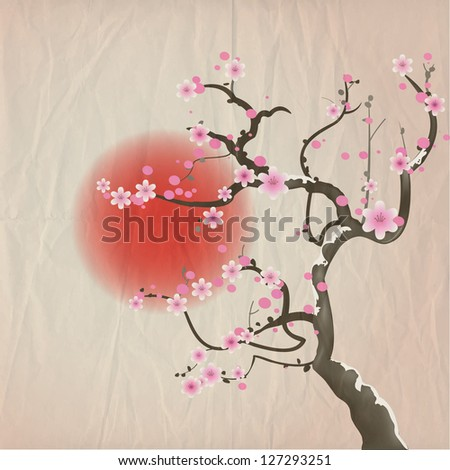 Bough of a cherry blossom tree against red sun. Crumpled paper vintage effect. Also available in vector format.