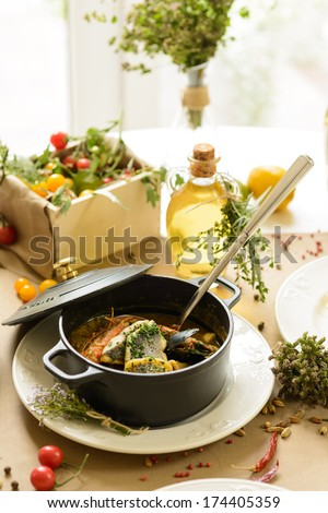 bouillabaisse fish soup - stock photo