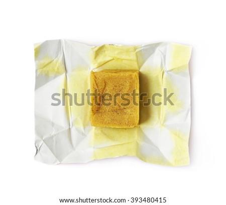 Bouillon stock broth cube isolated - stock photo