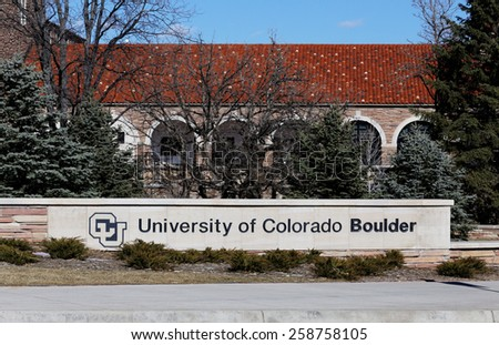 BOULDER, CO - FEBRUARY 10: The University of Colorado Boulder located in Boulder, Colorado on February 10, 2015. UCB is a public research university founded in 1876. - stock photo
