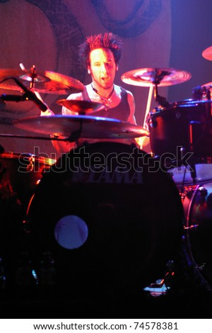 BOULDER, CO -MAY 19: Drummer Roy Mayorga of the Heavy Metal band Soulfly performs in concert May 19, 2003 at the Fox Theater in Boulder, CO. USA