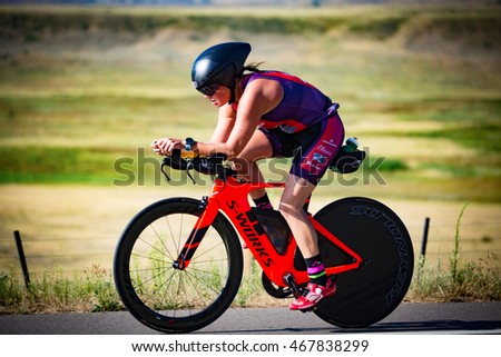 Boulder, Colorado, USA - August 7, 2016: Athletes compete at Ironman Boulder.