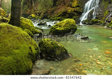 Boulder Creek in the Washington State Cascade Mountain Range - stock photo