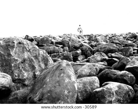 Boulder field - stock photo