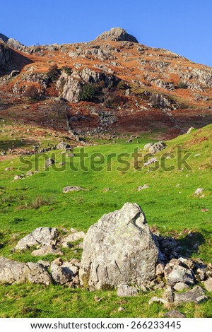 Boulder mimicking the Langdale Pikes. The shape of a boulder strewn in the foreground field mimics the shape of the Langdale Pikes beyond. - stock photo