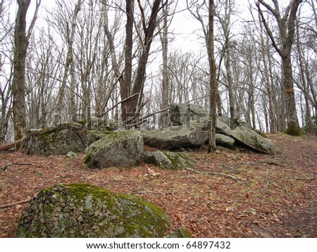 Boulders along the Appalachian trail in Tennessee - stock photo