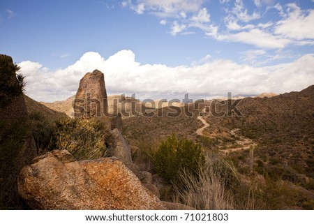 Boulders along the Four Peaks wilderness road near Phoenix, Mesa and Scottsdale Arizona in the Sonoran Desert.
