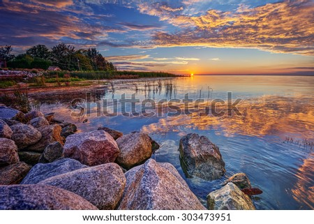 Boulders by the edge  - stock photo