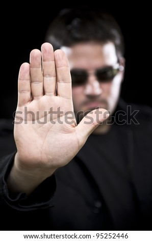 Bouncer says Stop - stock photo