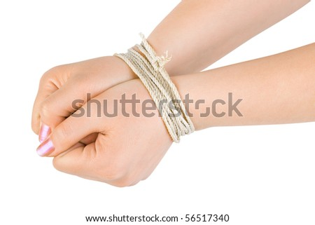 Bound hands isolated on white background - stock photo