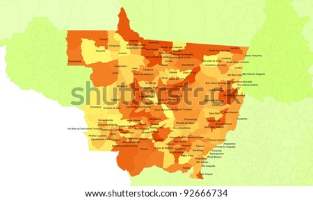 Boundaries of Mato Grosso State - midwest Brazil - stock photo