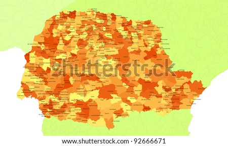 Boundaries of Parana State - south Brazil - stock photo