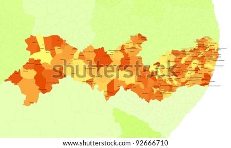 Boundaries of Pernambuco State - northeast Brazil - stock photo