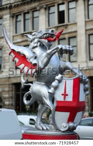 Boundary Dragon or Griffon marking out the perimeter of the old City of London - stock photo