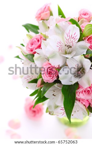 bouquet alstroemeria and rose on white isolated background