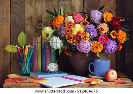 Bouquet and book. Back to school. September 1, Knowledge Day, Teacher's Day.
