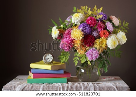 Bouquet and book. Back to school. September 1. The Teacher's Day. The Day Of Knowledge.
