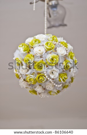 bouquet ball as decoration on wedding celebration - stock photo