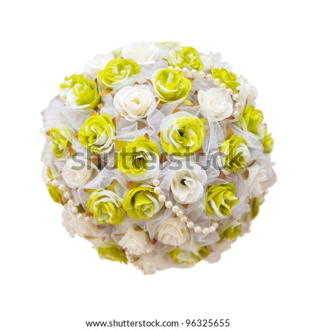 bouquet ball as decoration on wedding celebration, isolated on white - stock photo