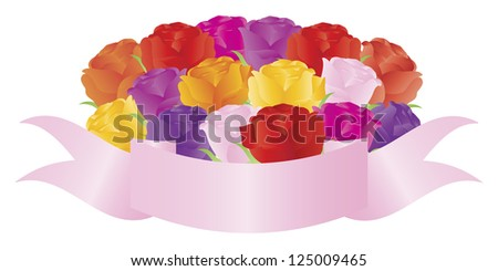 Bouquet Bunch of Colorful Roses with Banner Illustration Isolated on White Background Raster Vector - stock photo