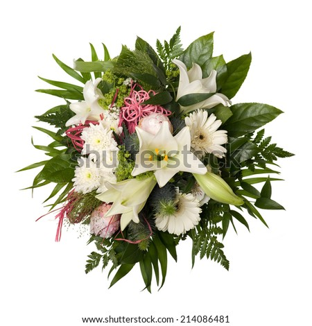 bouquet bunch of flower for special moments isolated on white background - stock photo