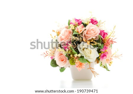 Bouquet flowers isolated on white - stock photo