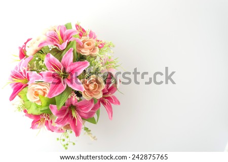 bouquet flowers isolated on white background - stock photo