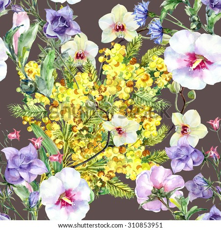 Bouquet flowers of mimosa, orchid, bell flower, watercolor