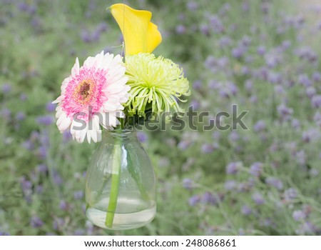 Bouquet from daisy-gerbera in glass vase isolated on grass background - stock photo