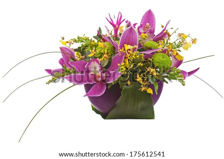 Bouquet from orchids in dark vase isolated on white background. Closeup. - stock photo