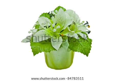 bouquet Gerber flowers on white background - stock photo
