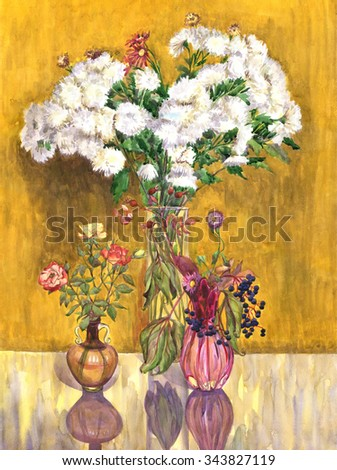 Bouquet in a vase, flowers. Roses, chrysanthemums, rose hips, wild grapes. Watercolor painting