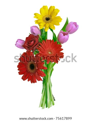 bouquet isolated on white - stock photo
