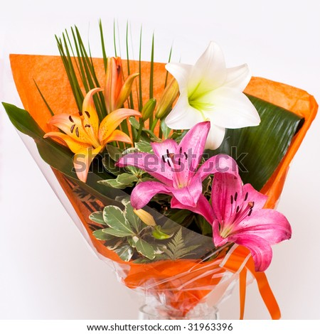 Bouquet lily isolated on white background - stock photo
