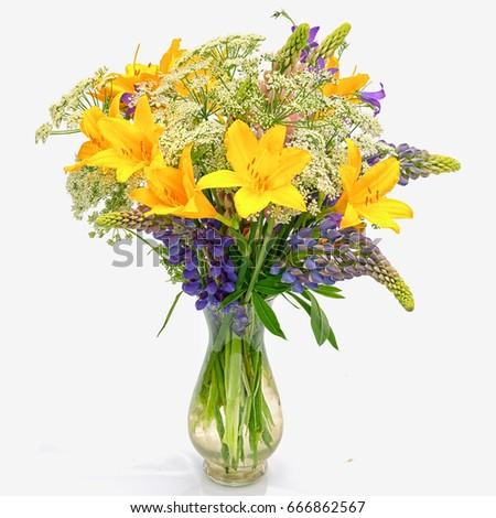Bouquet Od Wild Flowers Achillea Millefolium Stock Photo