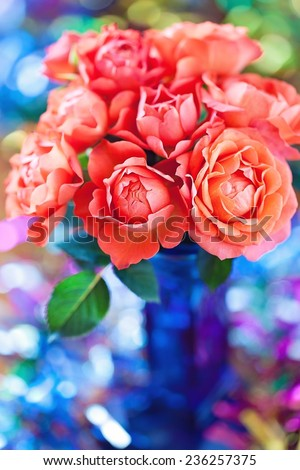 bouquet of a beautiful roses on a background with bokeh. - stock photo