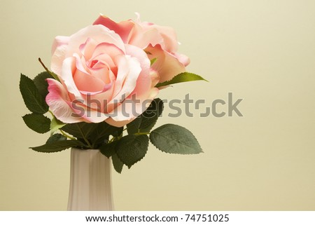 Bouquet of a pair of pink roses in a white vase against a light green background. - stock photo