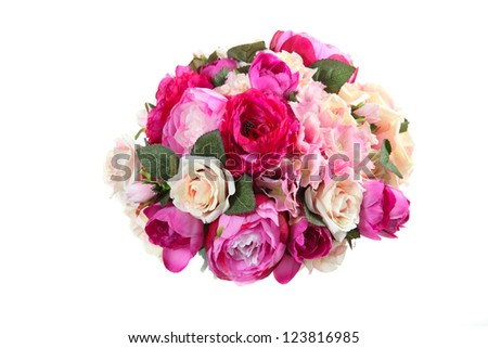 bouquet of artificial flowers roses, hydrangea, peony on a white background