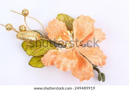 Bouquet of artificial golden flowers isolated on white background - stock photo