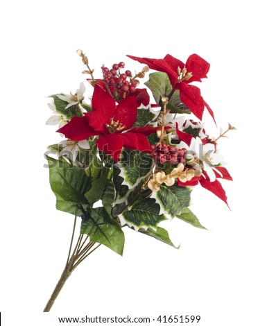 Bouquet of artificial poinsettia and berries for Christmas decoration. Isolated on white - stock photo
