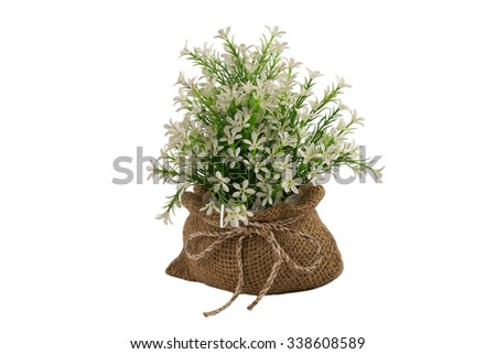 Bouquet of artificial tiny white flowers isolated   - stock photo