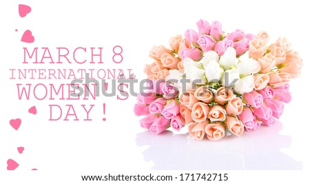 Bouquet of beautiful artificial flowers, isolated on white - stock photo