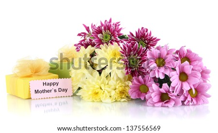 Bouquet of beautiful chrysanthemums isolated on white - stock photo