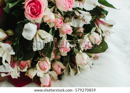 bouquet of beautiful flowers on a white