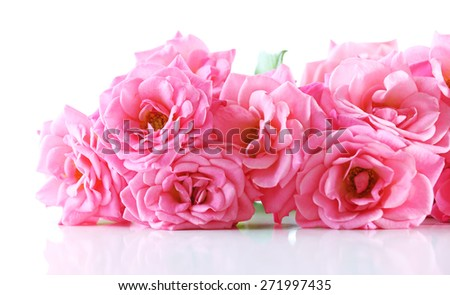 Bouquet of beautiful fresh roses isolated on white - stock photo
